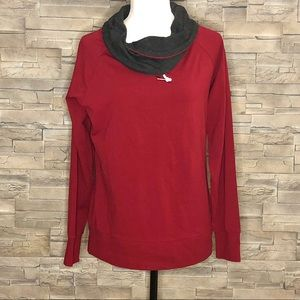 Twik dark red and grey cowl-neck top, NWT